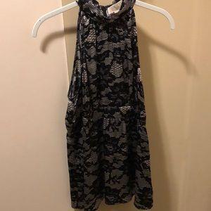 Grey and Black sleeveless blouse